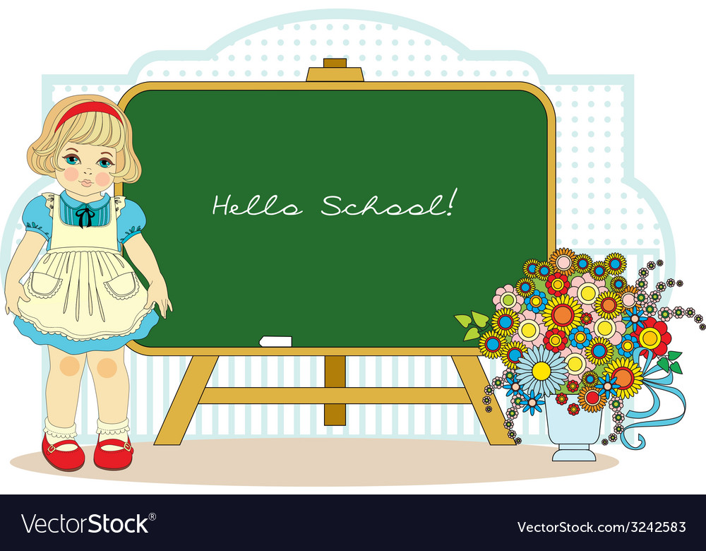 Girl near school blackboard vector | Price: 1 Credit (USD $1)