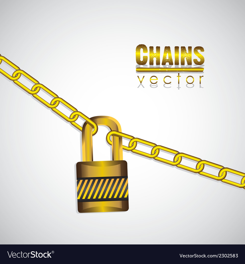 Gold chains attached by a padlock vector | Price: 1 Credit (USD $1)