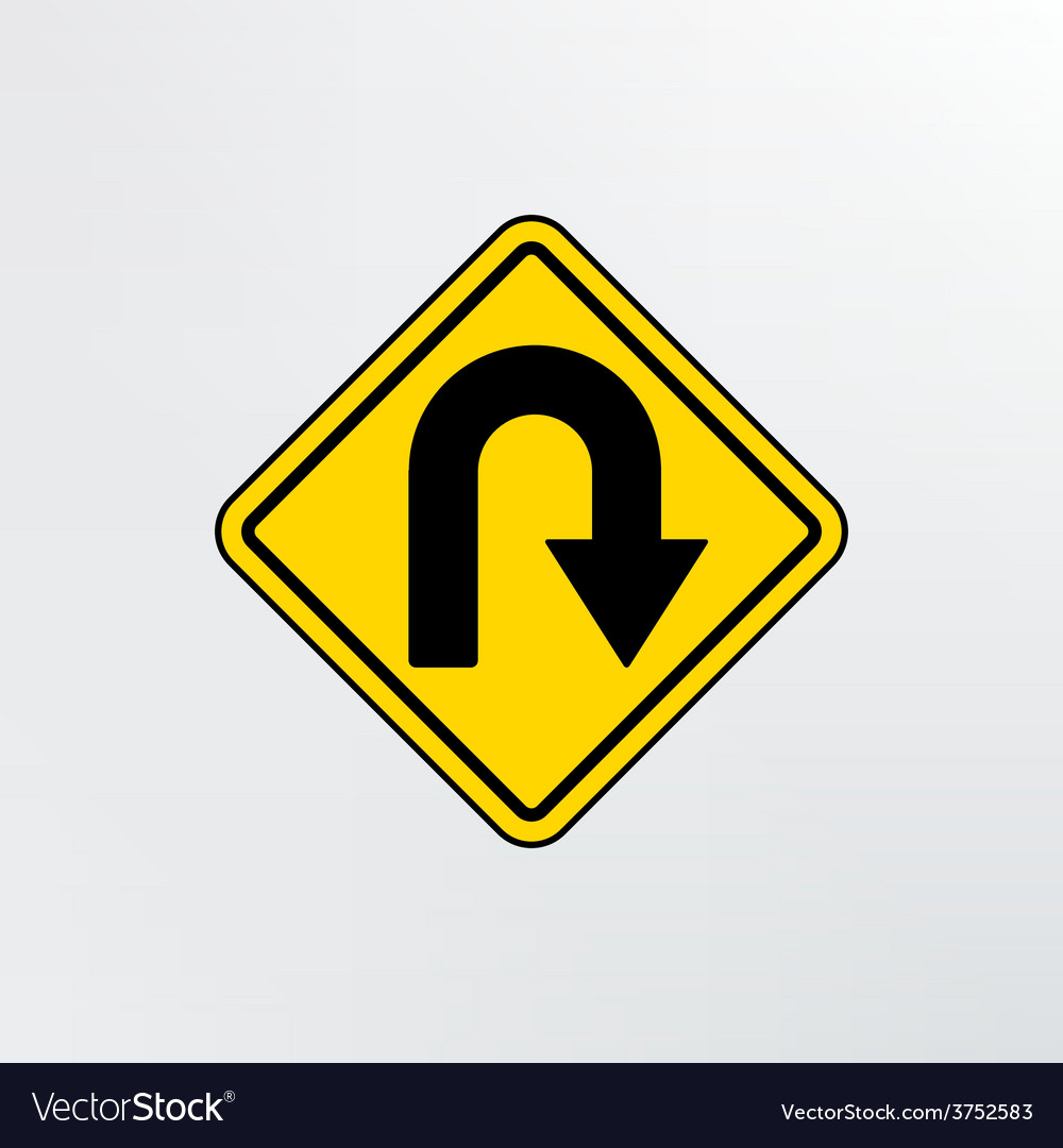 Hairpin curve warning icon vector | Price: 1 Credit (USD $1)