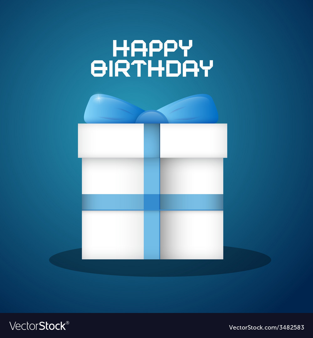 Happy birthday with blue background and pape vector | Price: 1 Credit (USD $1)