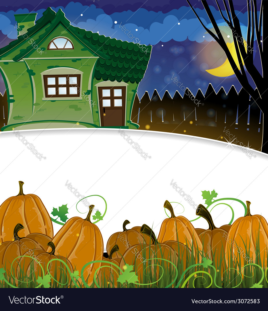 Pumpkins and brick house vector   Price: 3 Credit (USD $3)