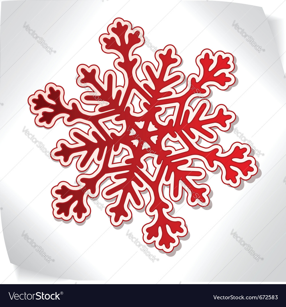 Red paper snowflacke over blank sticker vector | Price: 1 Credit (USD $1)