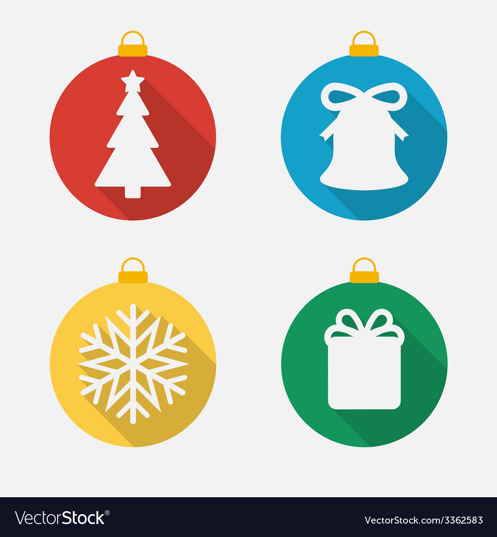 Set of christmas and new year icons flat icons vector | Price: 1 Credit (USD $1)