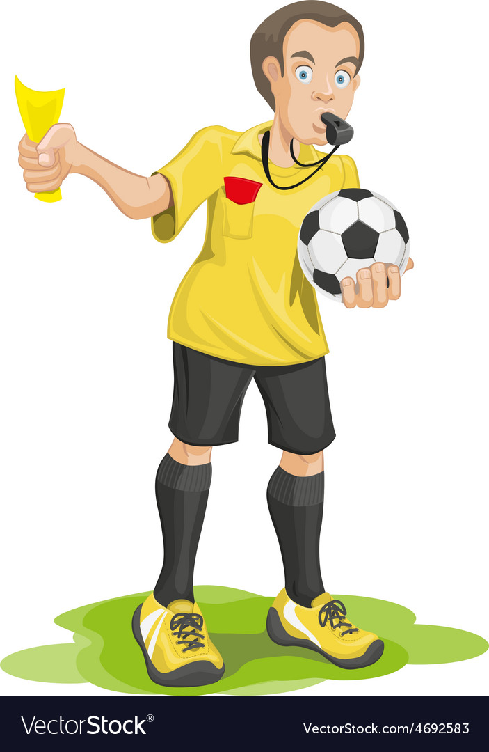 Soccer referee whistles and shows yellow card vector | Price: 3 Credit (USD $3)