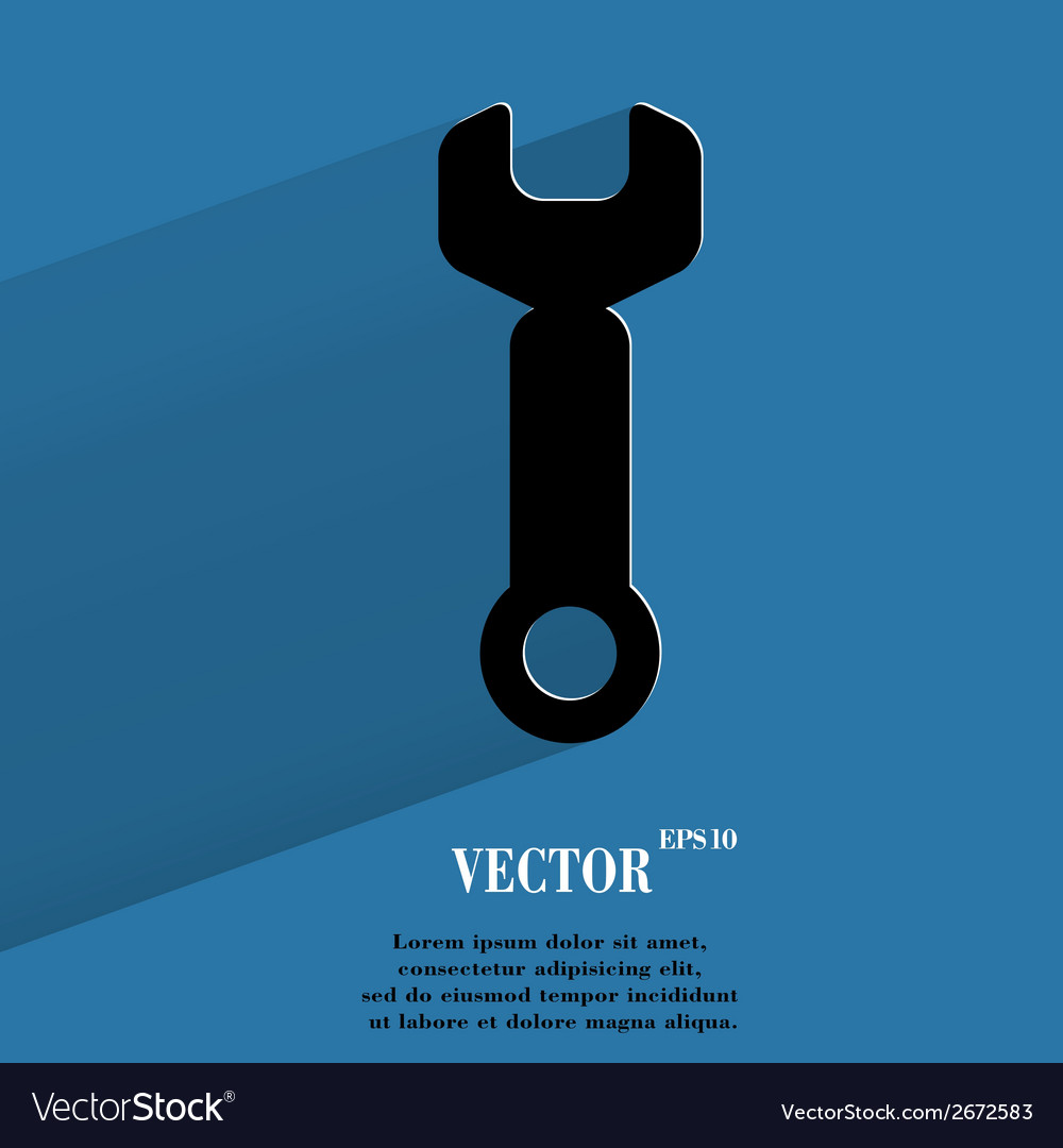 Wrench tool to work flat modern web button with vector | Price: 1 Credit (USD $1)