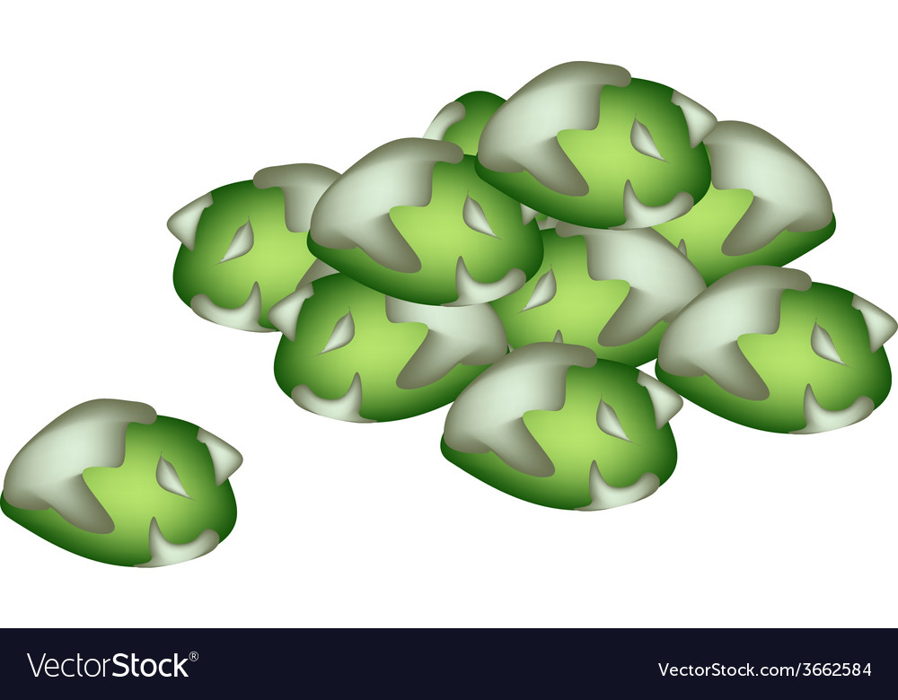 A pile of wasabi peas on white background vector | Price: 1 Credit (USD $1)