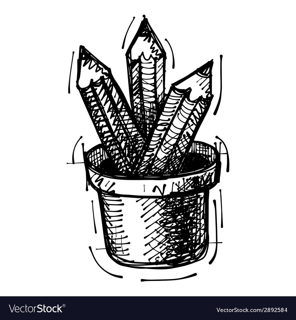 Black sketch drawing of pencils vector | Price: 1 Credit (USD $1)