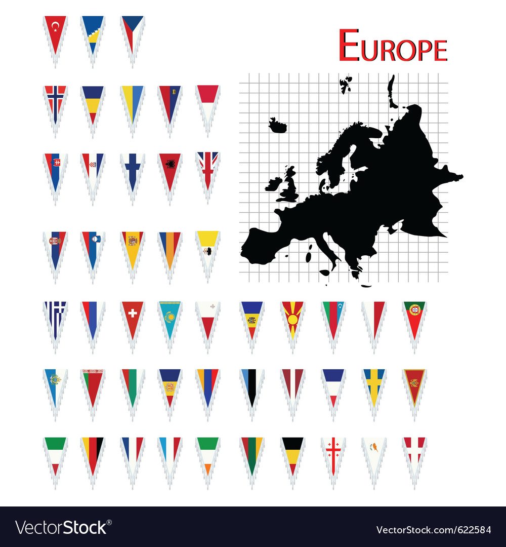 Europe flags and map vector | Price: 1 Credit (USD $1)