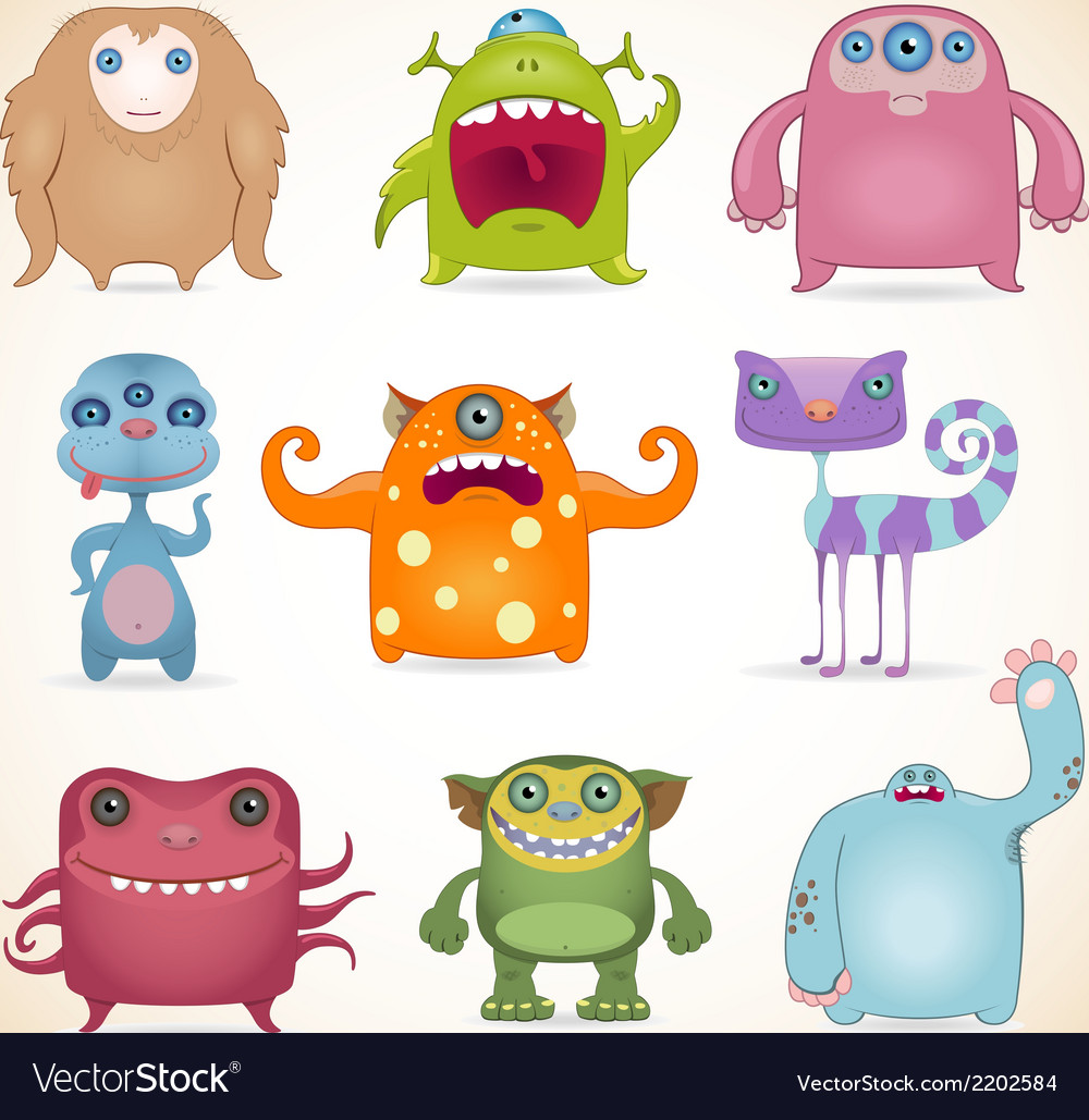 Monsters set2 vector | Price: 1 Credit (USD $1)