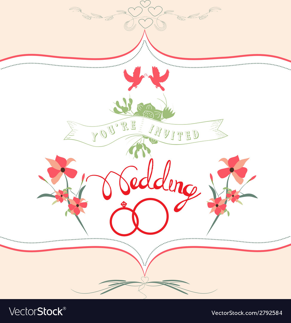 Ornate frame wedding invitation floral retro vector | Price: 1 Credit (USD $1)