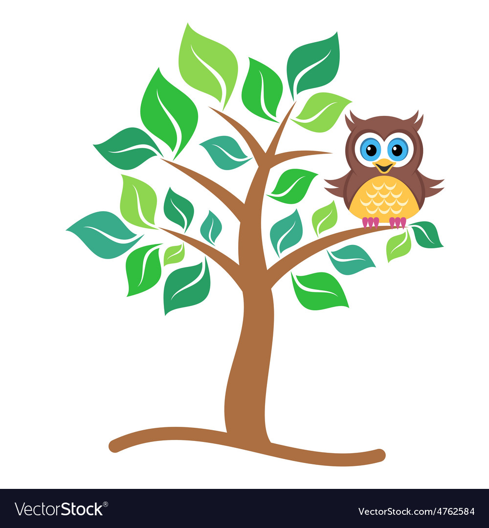 Owl on tree vector | Price: 1 Credit (USD $1)