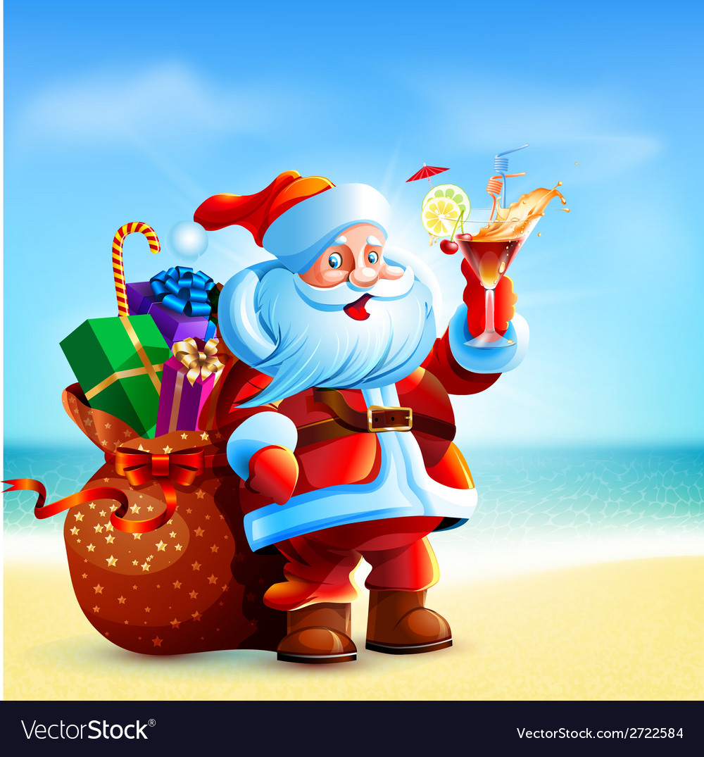 Santa claus holding a glass of cocktail vector | Price: 3 Credit (USD $3)