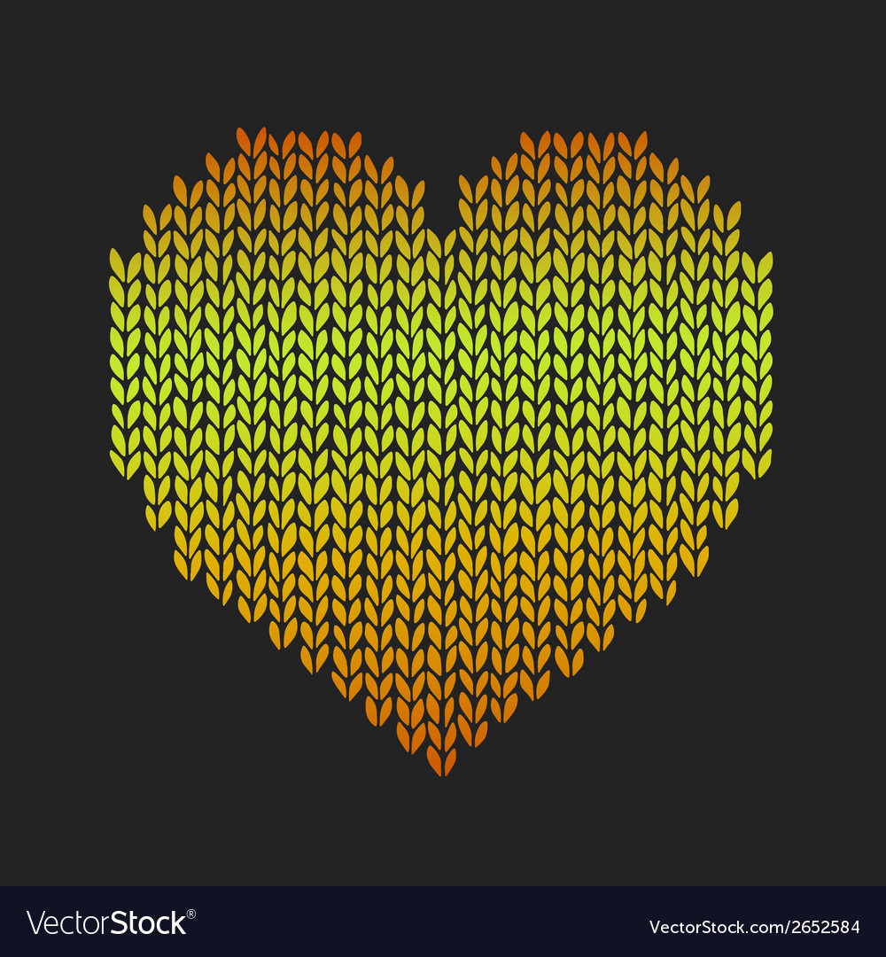 Seamless pattern with golden knitted heart on vector | Price: 1 Credit (USD $1)