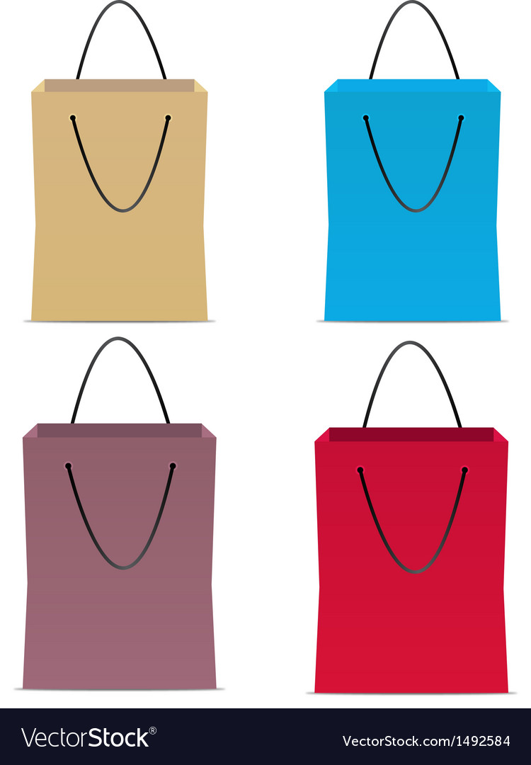 Set of paper colors bags vector | Price: 1 Credit (USD $1)