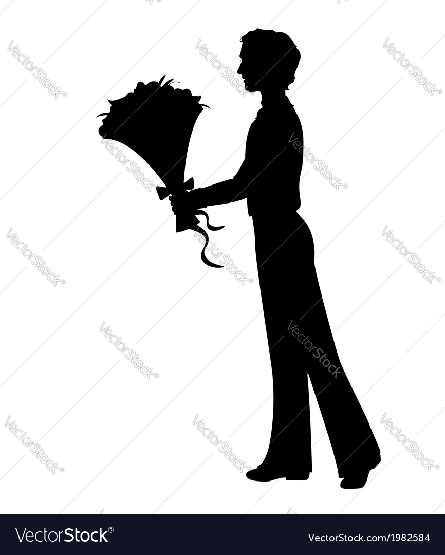 Silhouette of a man with flowers vector | Price: 1 Credit (USD $1)