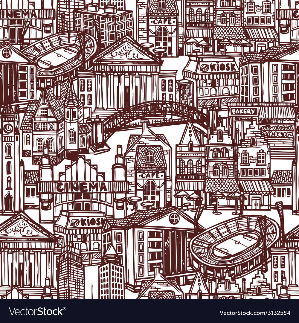Sketch city seamless pattern vector | Price: 1 Credit (USD $1)