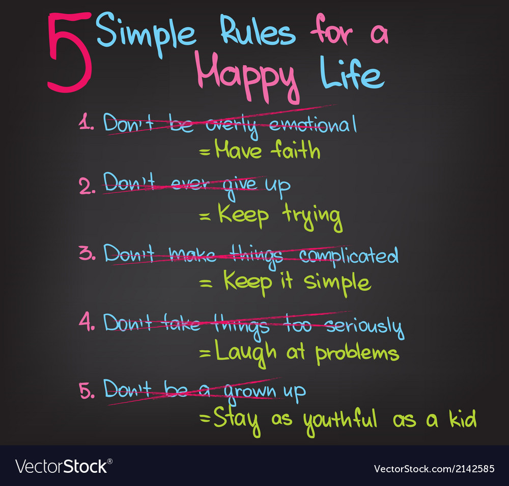5 rules of happy life vector | Price: 1 Credit (USD $1)