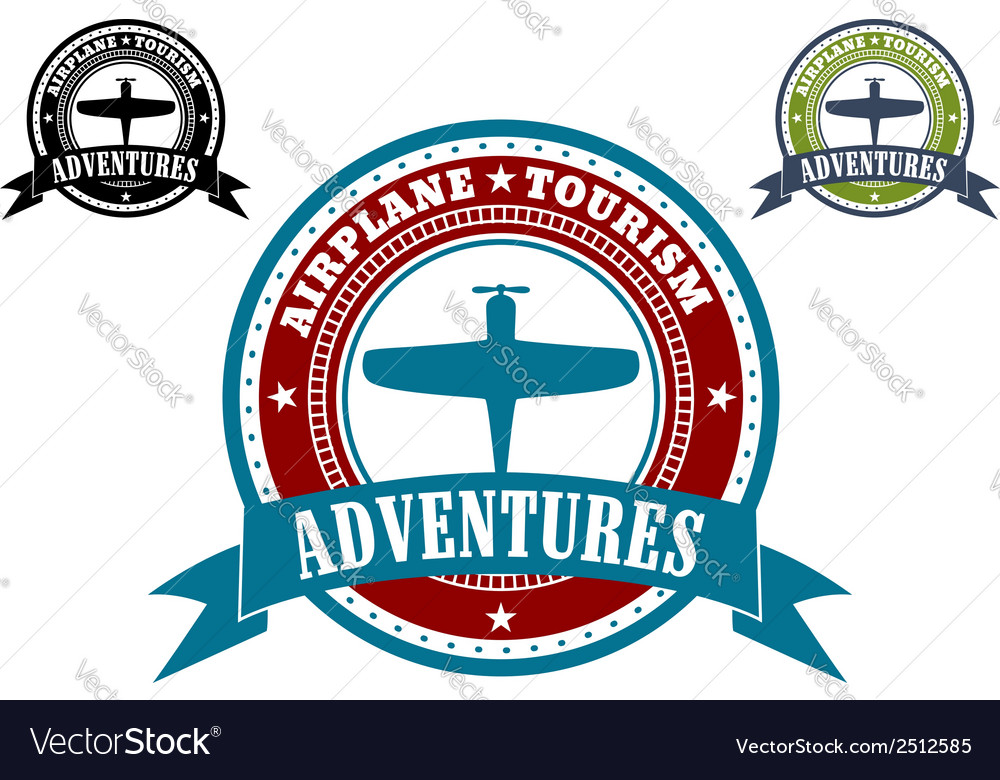 Airplane tourism emblems vector | Price: 1 Credit (USD $1)
