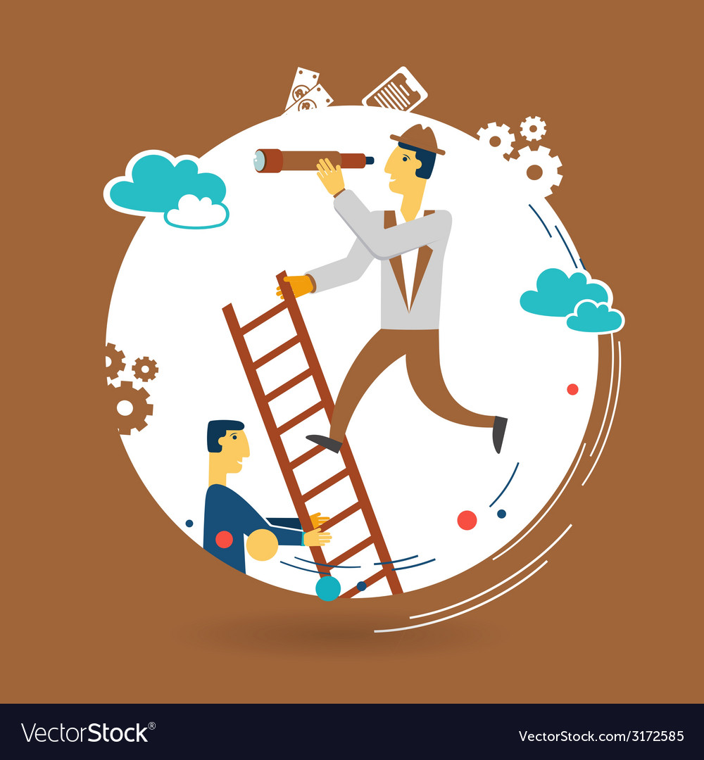 Businessman looking through a telescope and vector | Price: 1 Credit (USD $1)