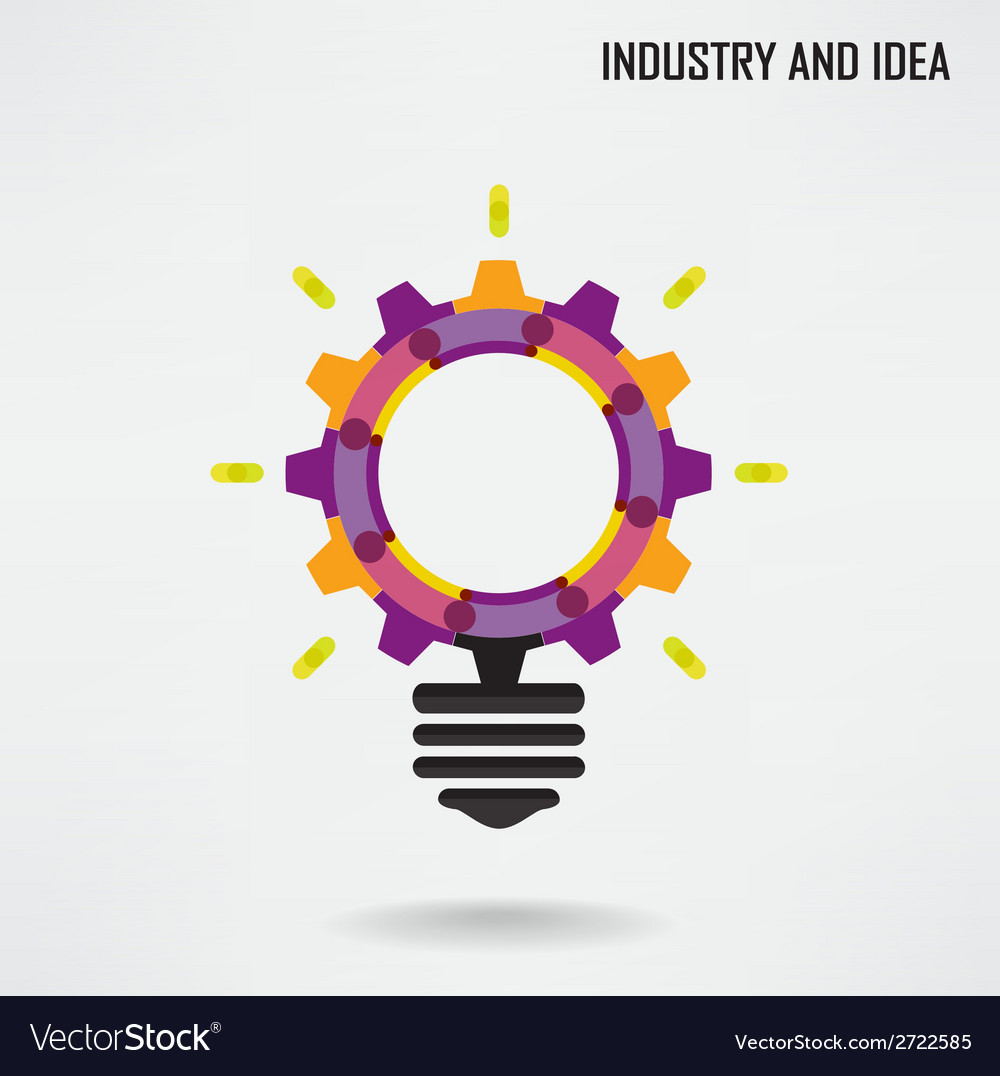Creative light bulb with industrial concept backgr vector | Price: 1 Credit (USD $1)
