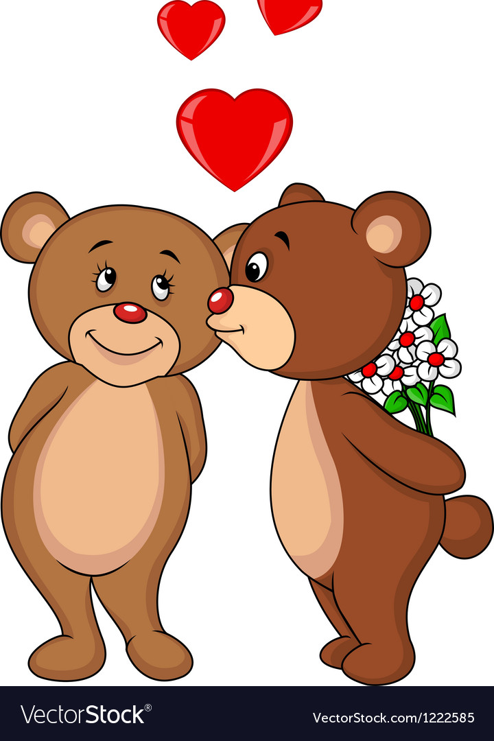 Cute bear couple kissing vector | Price: 3 Credit (USD $3)