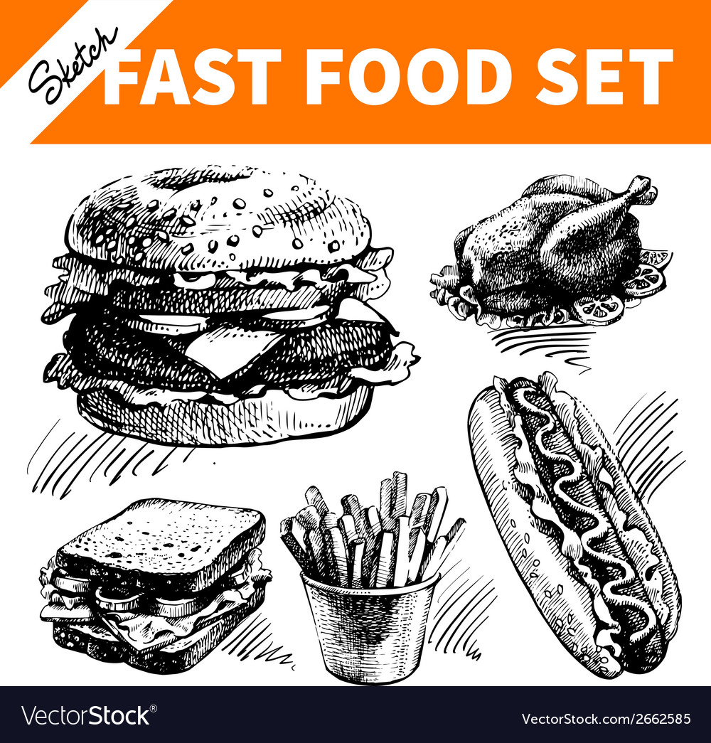 Fast food set hand drawn sketch vector | Price: 1 Credit (USD $1)