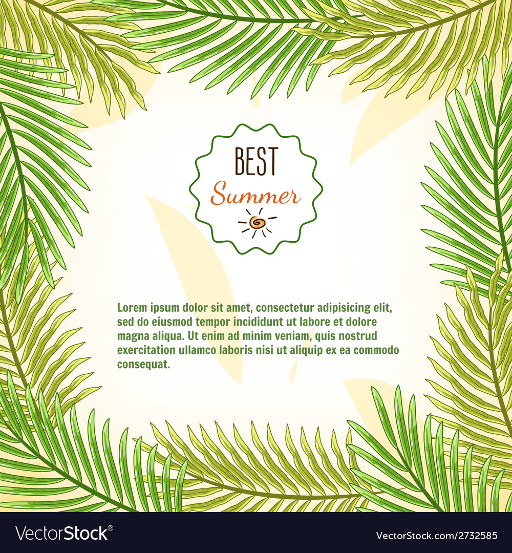 Frame of palm branches best summer background vector | Price: 1 Credit (USD $1)