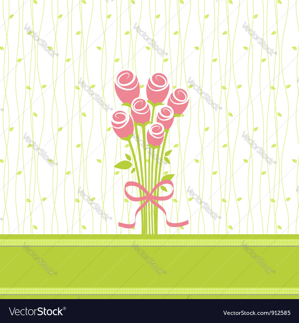 Greeting card with rose flowers vector | Price: 1 Credit (USD $1)