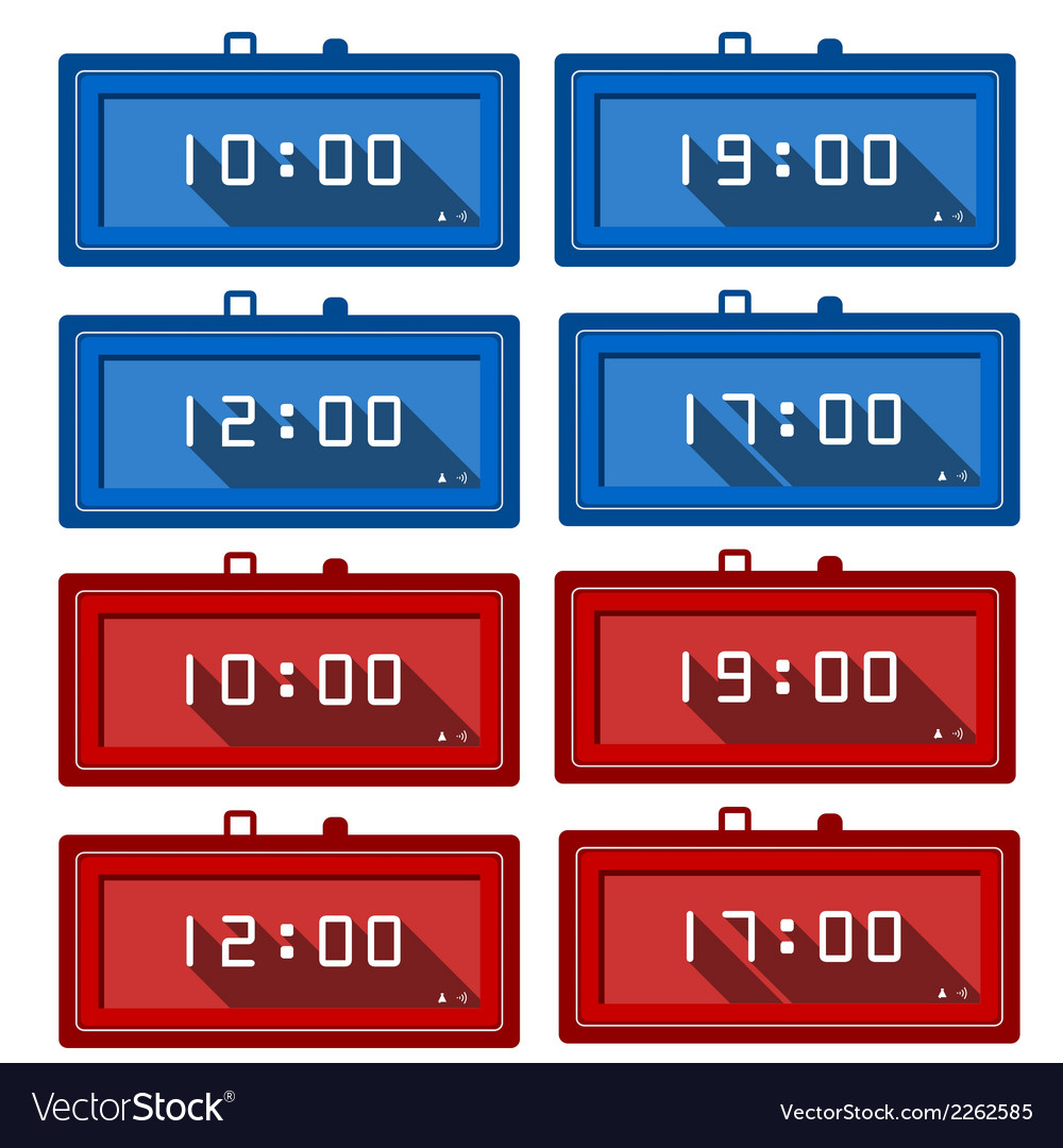 Icons for digital clocks vector | Price: 1 Credit (USD $1)