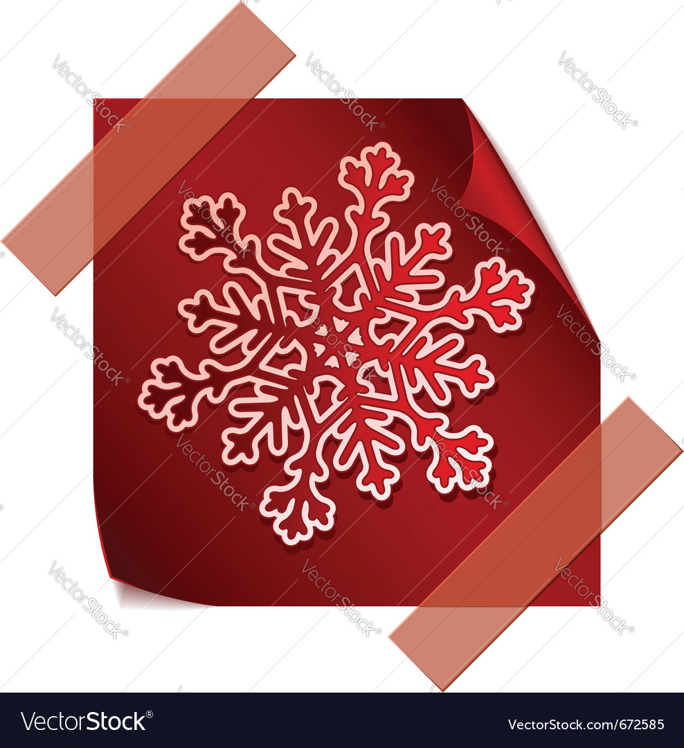Red paper snowflake over red sticker vector | Price: 1 Credit (USD $1)