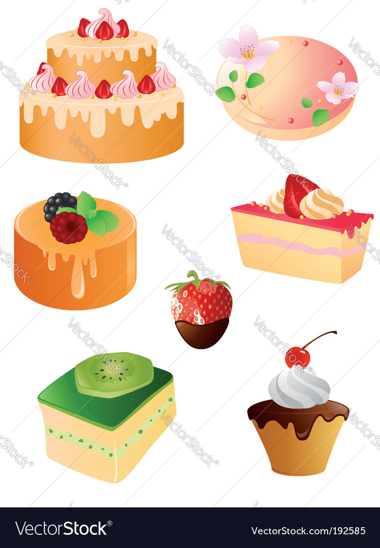 Set of sweet dessert icons vector | Price: 1 Credit (USD $1)