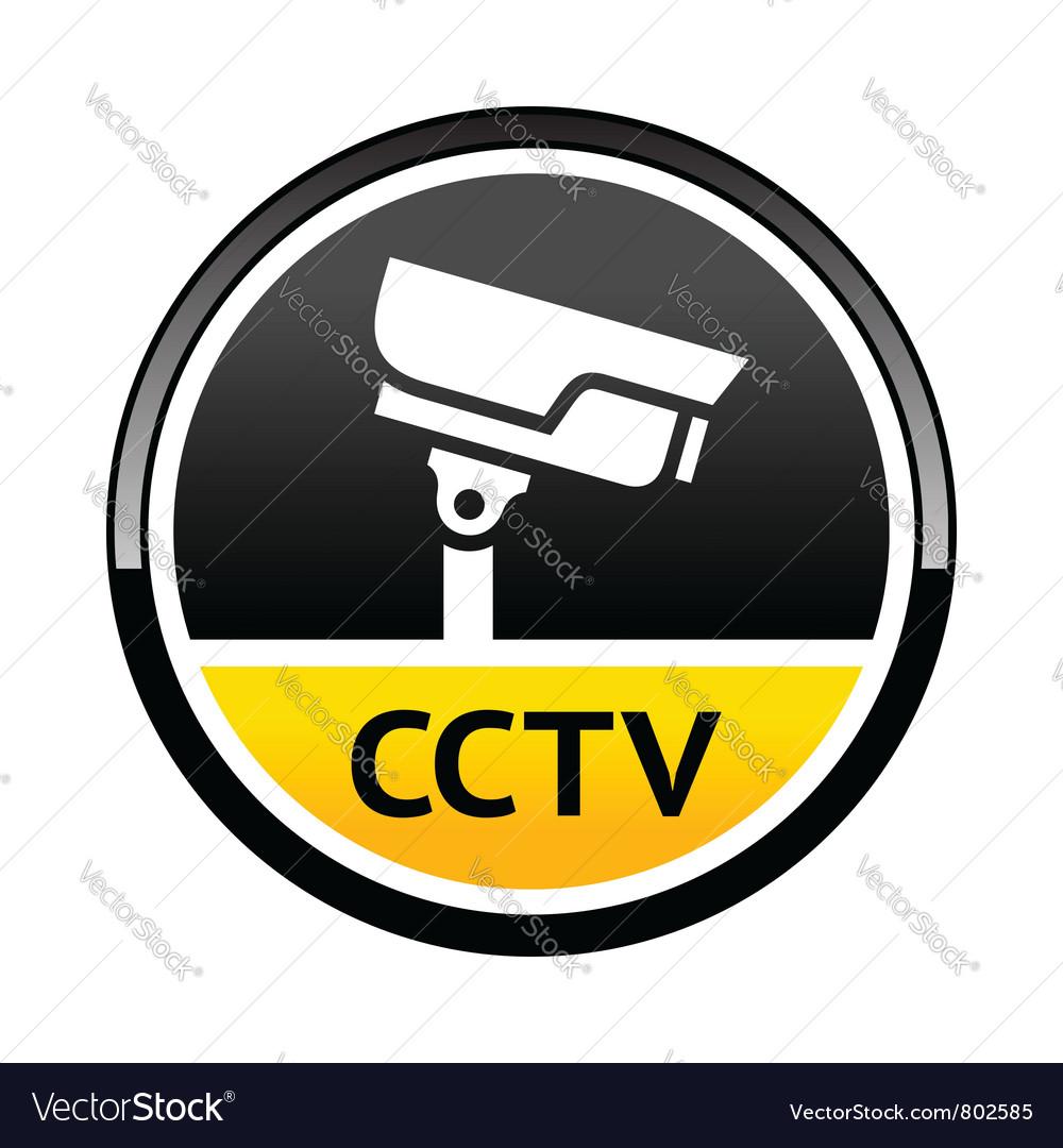 Surveillance camera warning round symbol vector | Price: 1 Credit (USD $1)