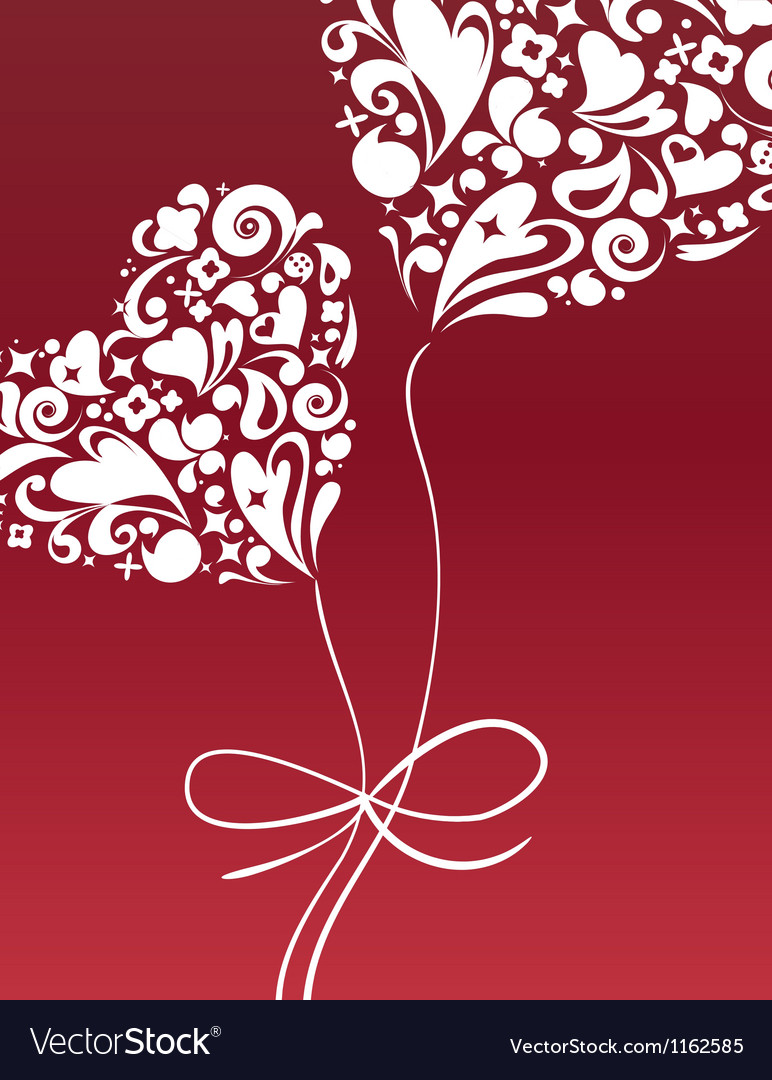 Valentines card with heart balloon vector | Price: 1 Credit (USD $1)