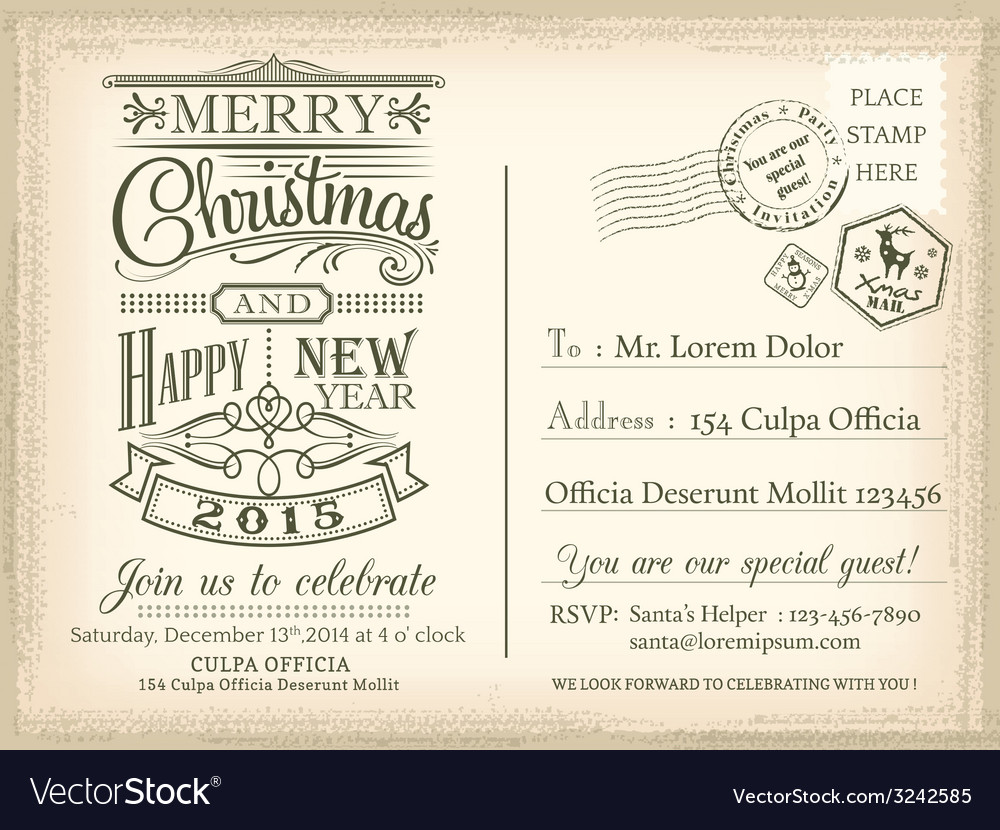 Vintage christmas happy new year holiday postcard vector | Price: 1 Credit (USD $1)