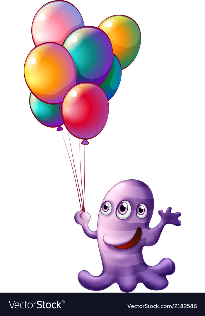 A monster holding balloons vector | Price: 1 Credit (USD $1)