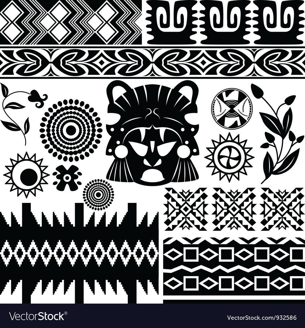 Ancient america pattern set small vector | Price: 1 Credit (USD $1)