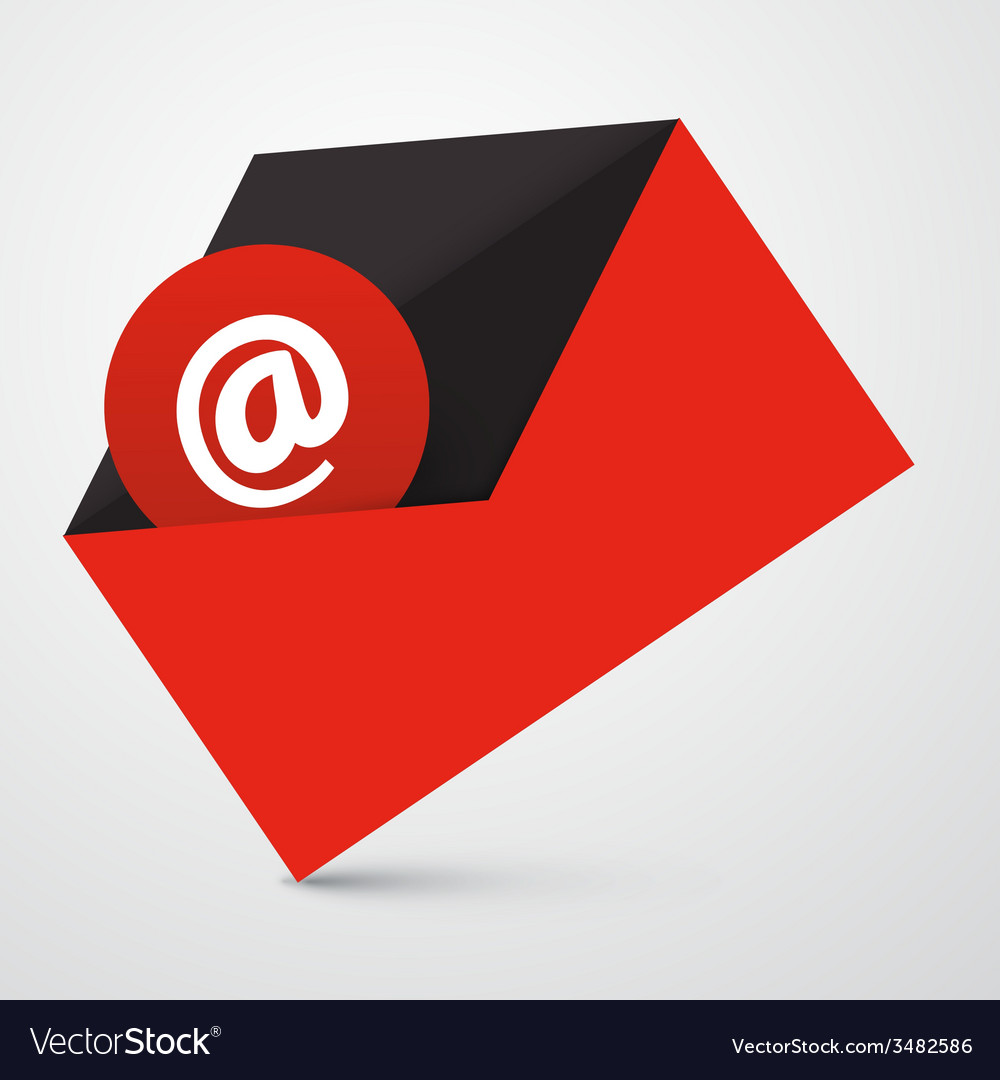 At sign in red envelope - email icon vector | Price: 1 Credit (USD $1)