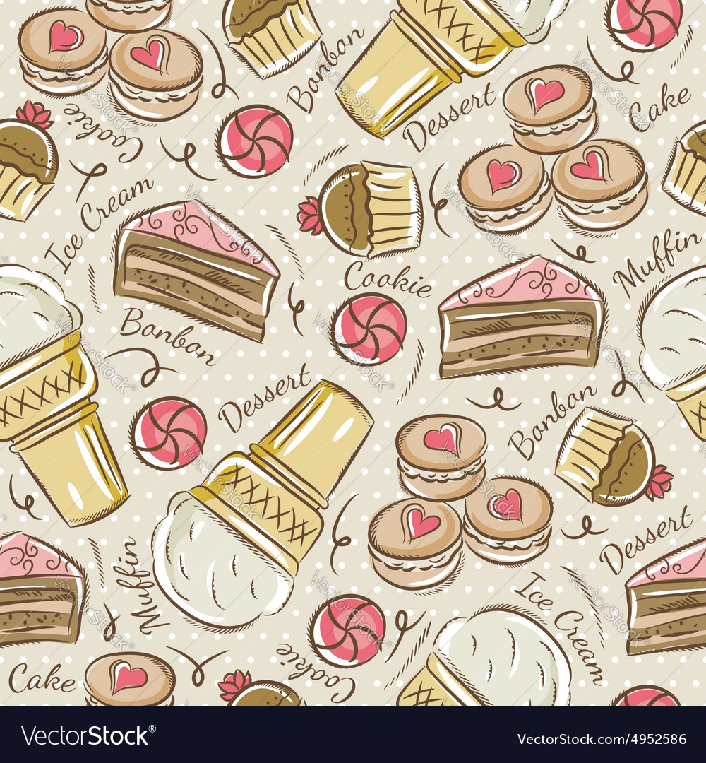 Background with cupcake ice cream and cake vector