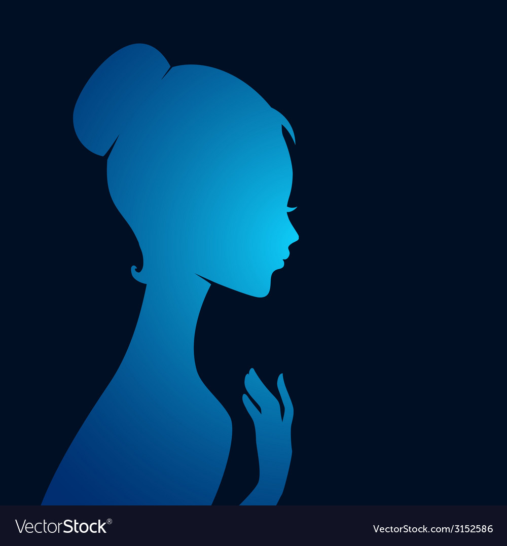 Beautiful womans silhouette vector | Price: 1 Credit (USD $1)