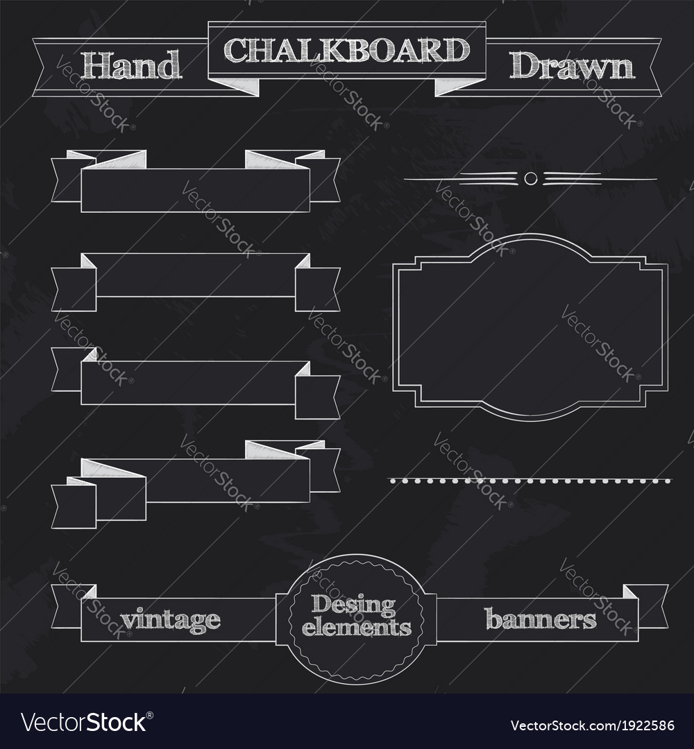 Chalkboard style banners ribbons and frames vector | Price: 1 Credit (USD $1)