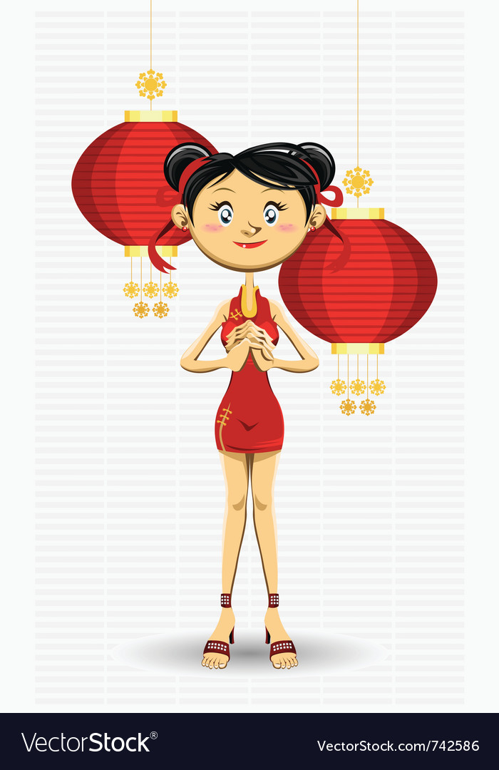 Chinese girl new year vector | Price: 3 Credit (USD $3)