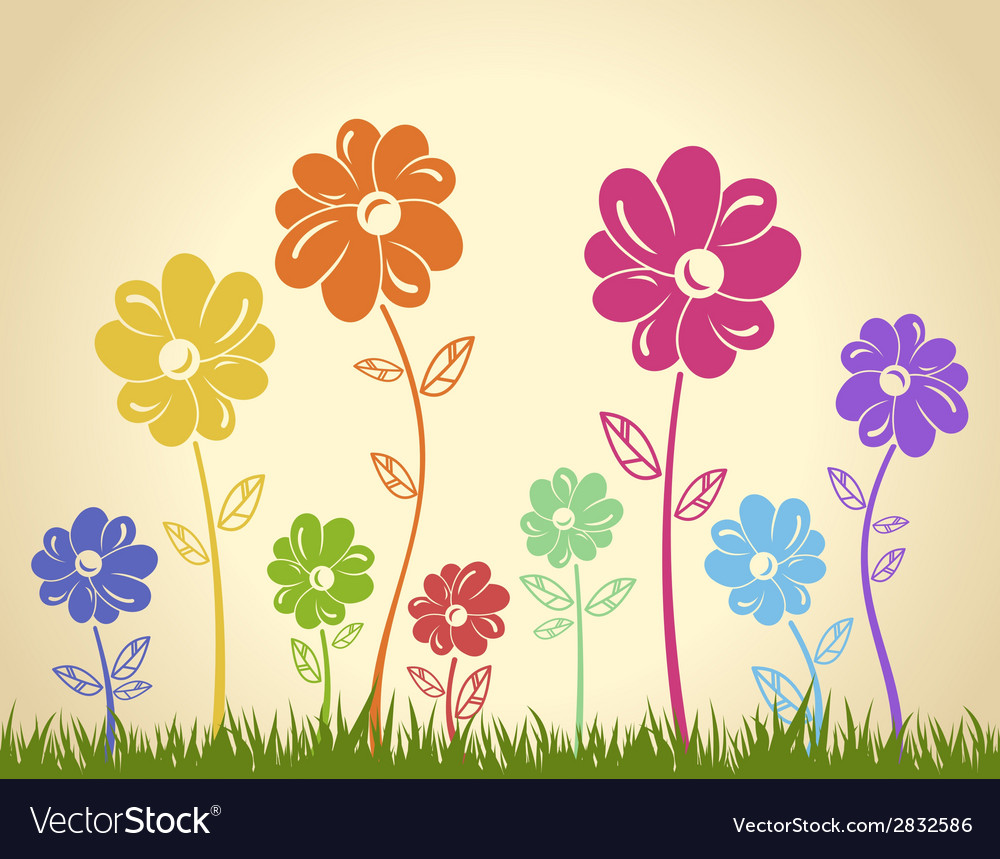 Colorful flowers on the grass background green vector | Price: 1 Credit (USD $1)