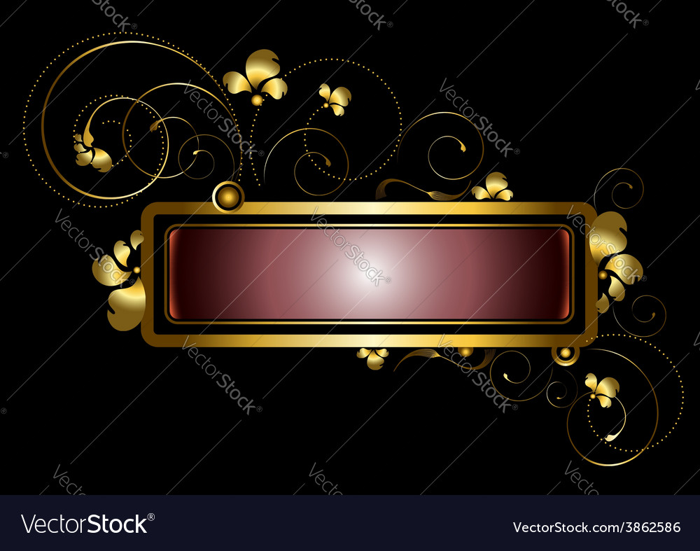 Gold frame decorated with golden curls beads vector | Price: 1 Credit (USD $1)