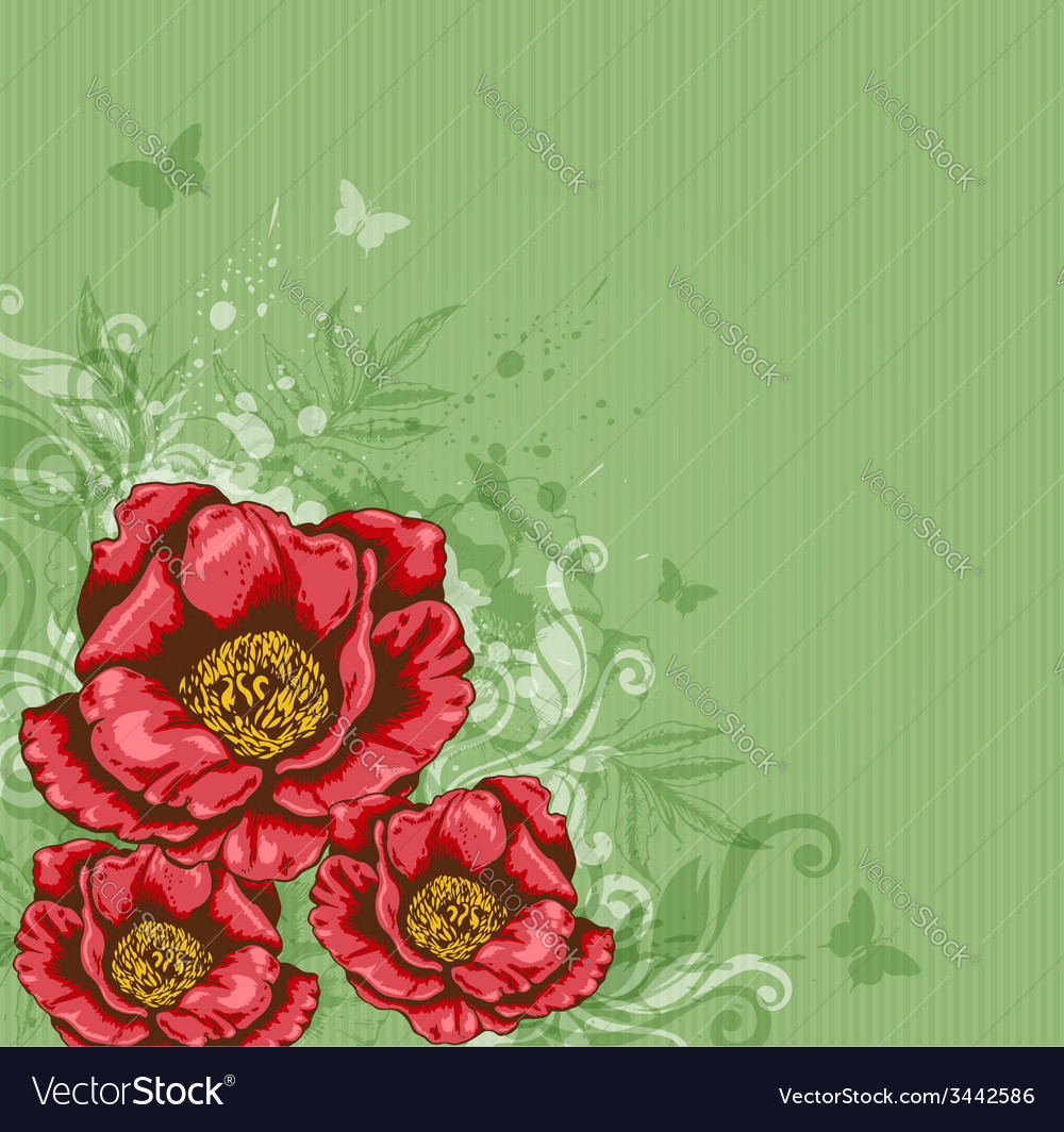 Green background with red flowers vector | Price: 1 Credit (USD $1)