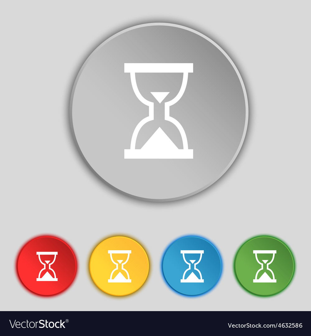 Hourglass sand timer icon sign symbol on five flat vector