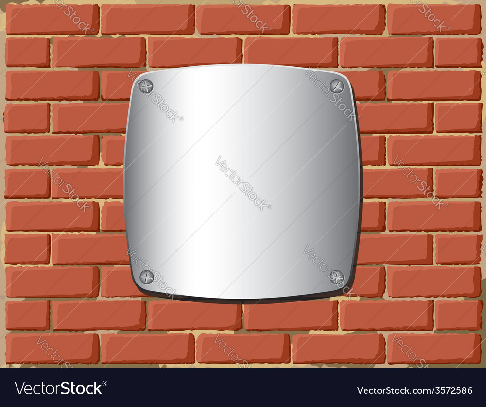 Metal shield on the brick wall vector | Price: 1 Credit (USD $1)