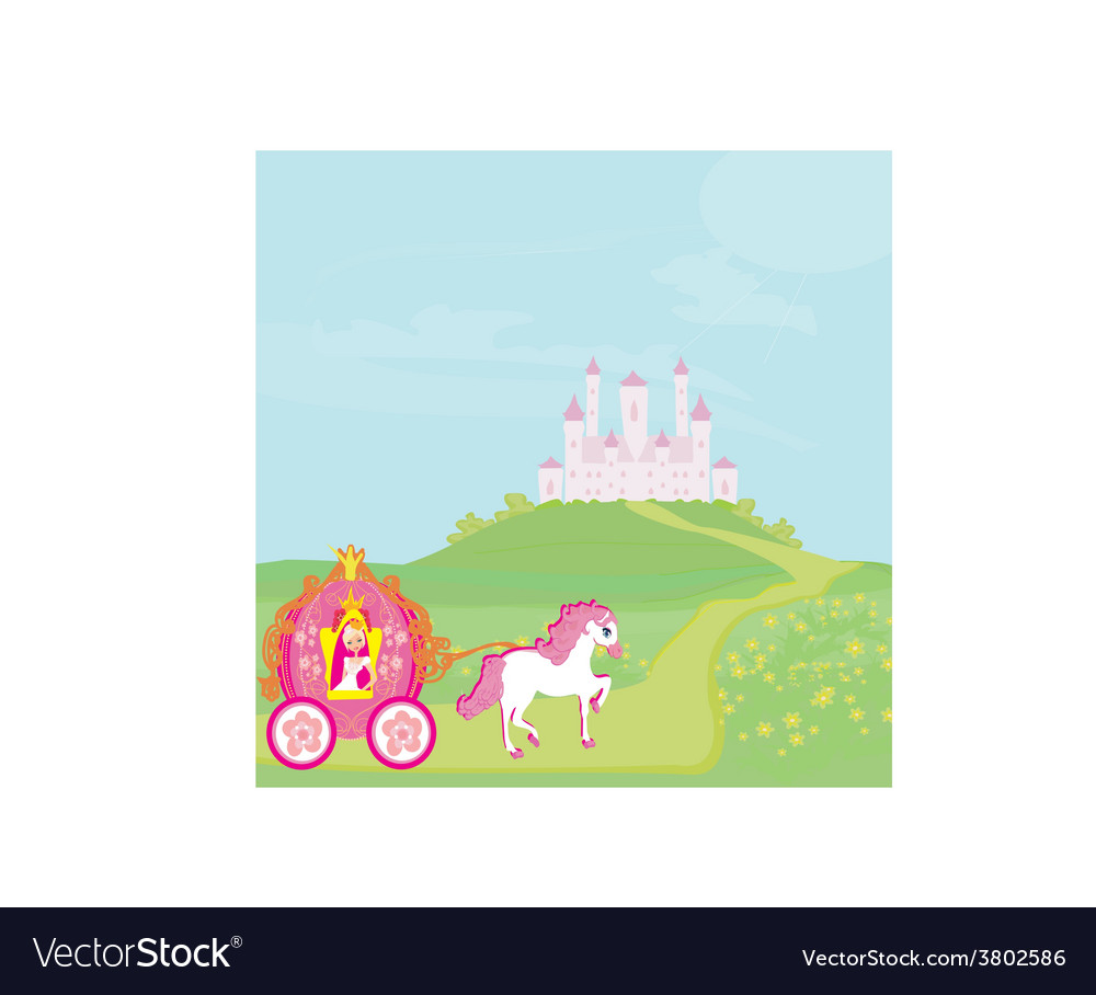 Princess in carriage vector | Price: 1 Credit (USD $1)