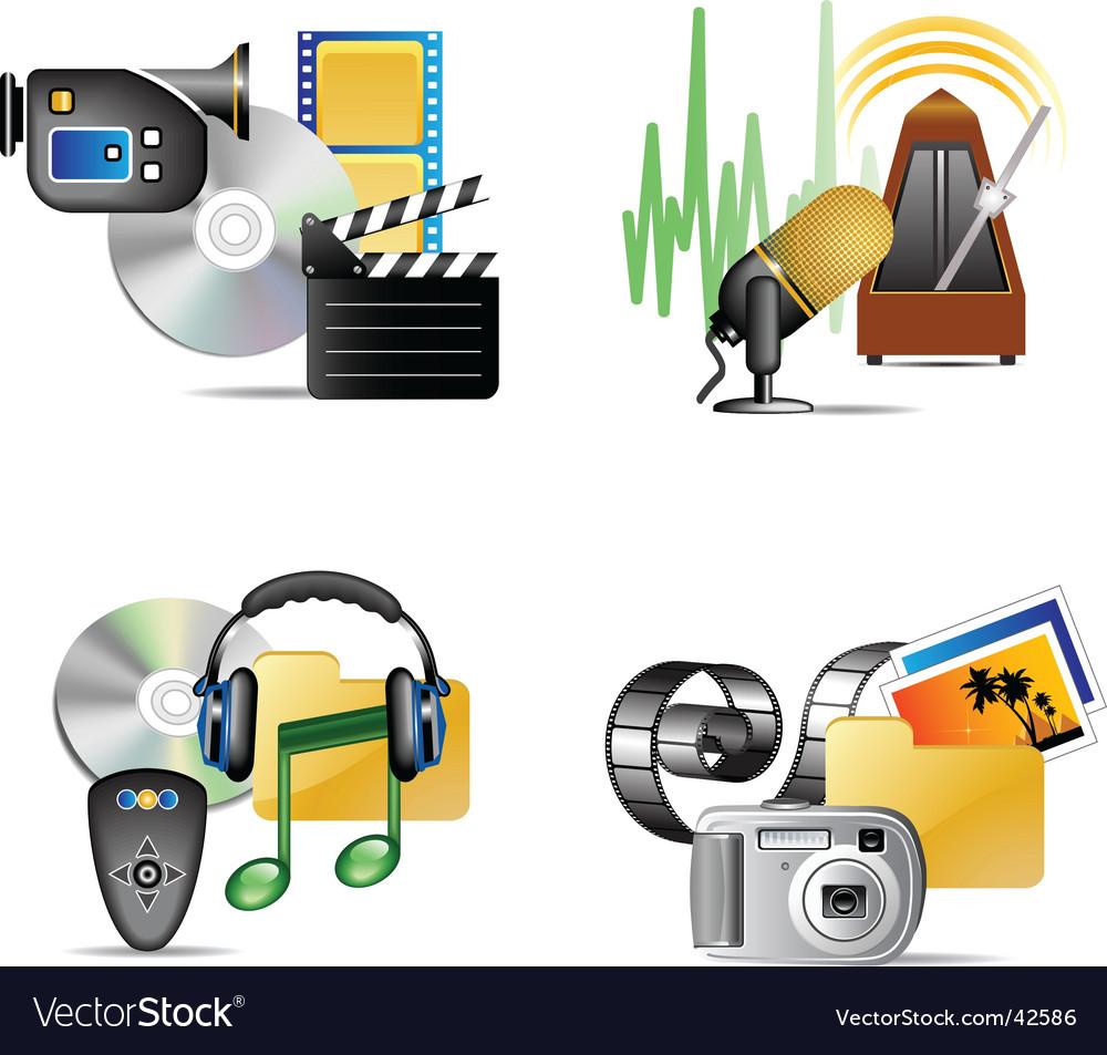 Set of multimedia internet icon vector | Price: 3 Credit (USD $3)