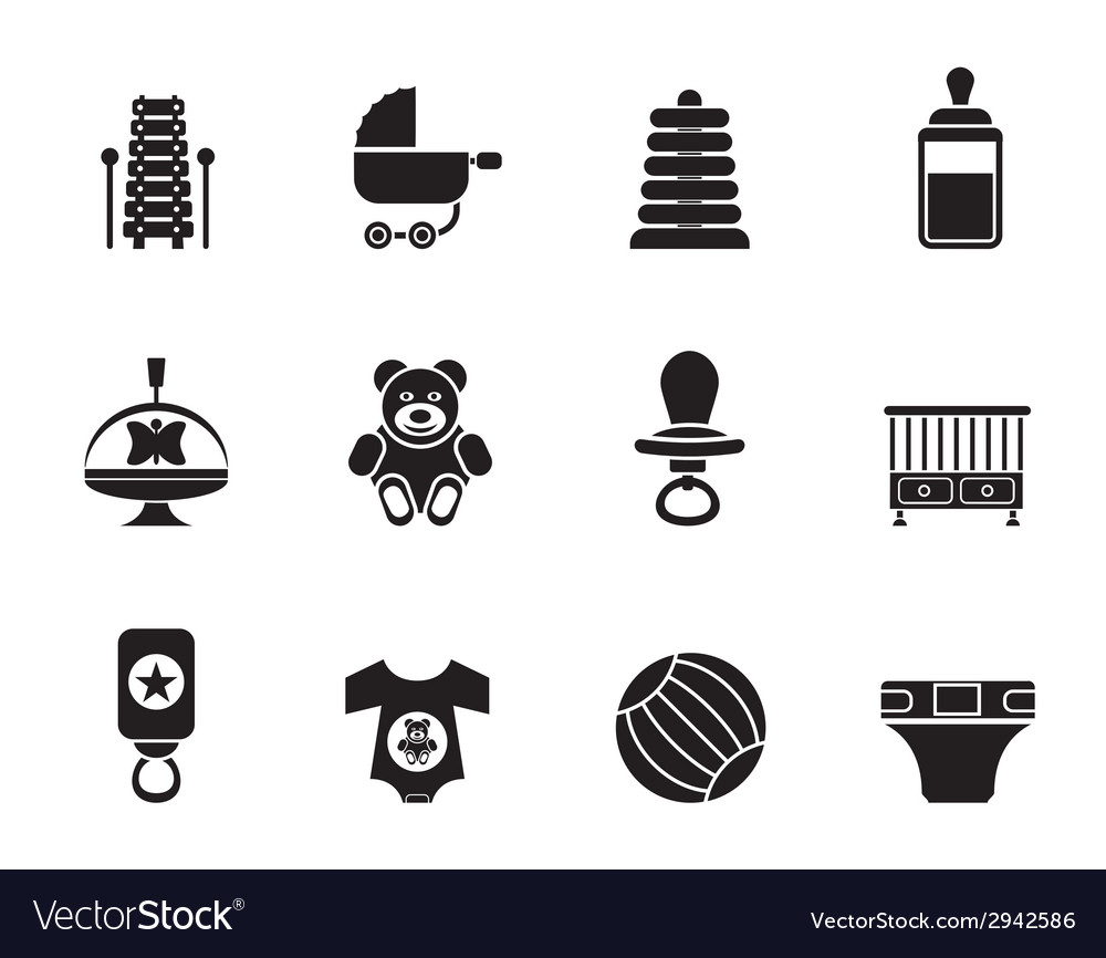 Silhouette child and baby online shop icons vector | Price: 1 Credit (USD $1)