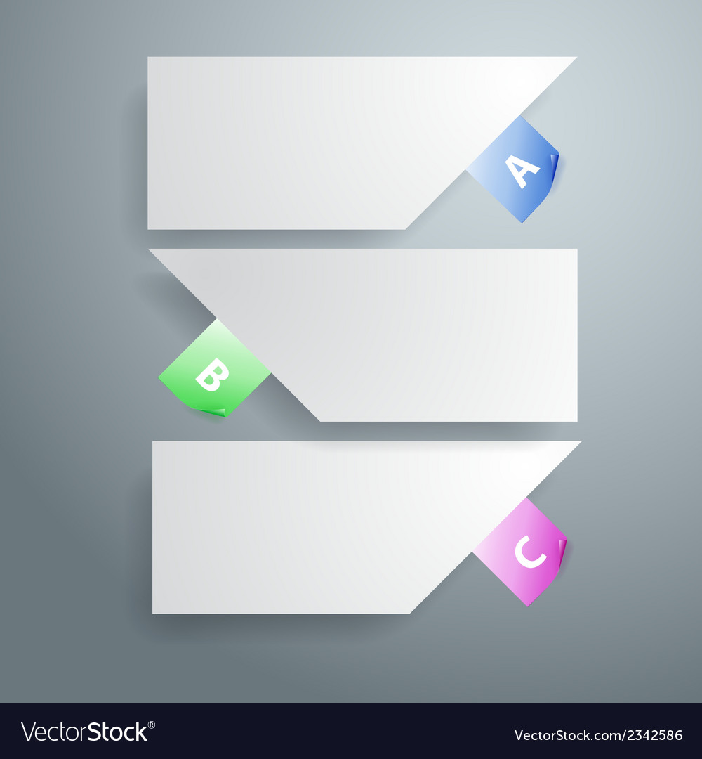 Three white paper notes vector | Price: 1 Credit (USD $1)